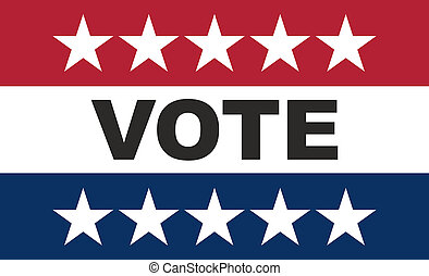 Vote on US America election day. VOTE text on american flag colors with patriotic stars background