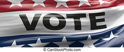 Vote on US America election day. VOTE text on waving american flag with patriotic stars background. 3d illustration