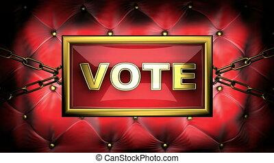 vote on velvet background