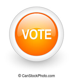 vote orange glossy web icon on white background