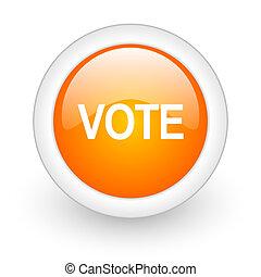 vote orange glossy web icon on white background
