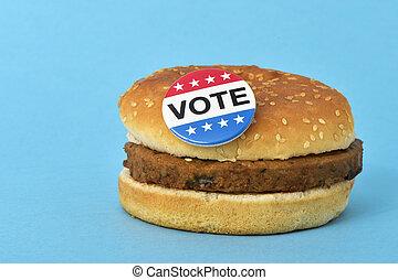 vote pin button on a hamburger