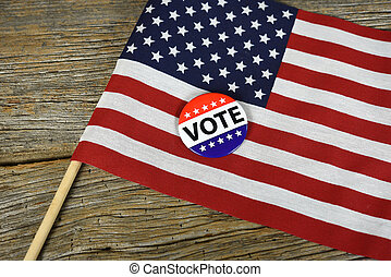 vote pin on American flag