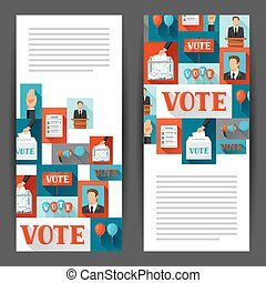Vote political elections banners. Backgrounds for campaign ...
