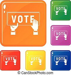 Vote poster icons set vector color