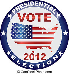 Vote Presidential Election 2012 Button Illustration