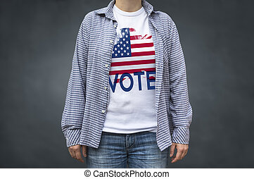 Vote Presidential Elections USA flag. Print on T-shirt, political message.