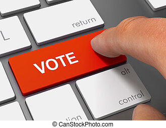 vote pushing keyboard with finger 3d illustration