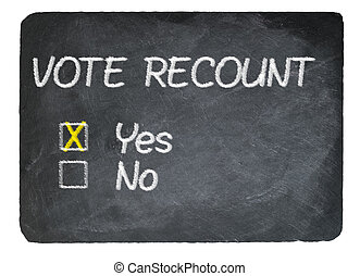 Vote recount concept using chalk on slate blackboard