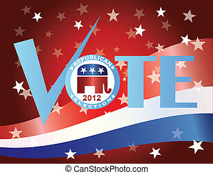 Vote Republican 2012 with US Flag - Vote Check Mark Text...