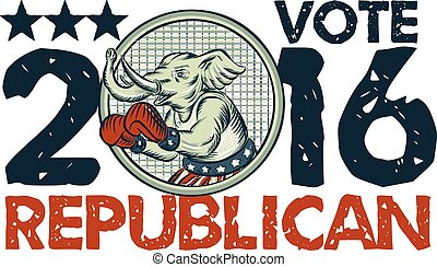 Etching engraving handmade style illustration of an American Republican GOP elephant boxer mascot boxing with boxing gloves wearing USA stars and stripes flag shorts viewed from side with words Vote Republican 2016.