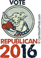 Vote Republican 2016 Elephant Boxer Etching - Etching...