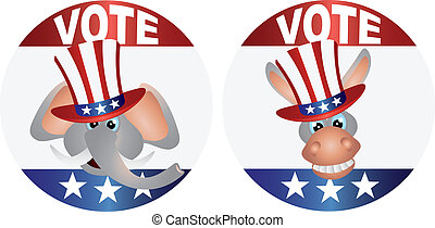 Vote Republican and Democrat with Uncle Sam Hat Buttons...