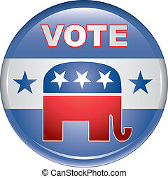 Vote Republican Button is an illustration of United States election campaign button promoting the right and will to vote Republican.