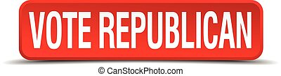 Vote republican red 3d square button isolated on white