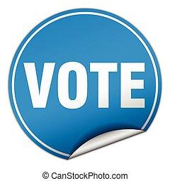 vote round blue sticker isolated on white