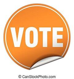 vote round orange sticker isolated on white