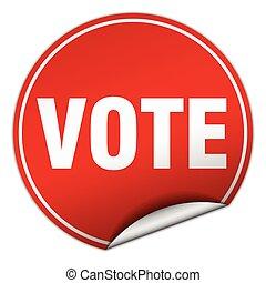 vote round red sticker isolated on white