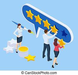 vote, satisfaction, ligne, réaction, research., classement, client, experience., isométrique, service, utilisateur, développement, concept., revue, enquête, élection, ou, produit
