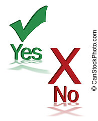 "Vote sign - Abstract sign illustration of ""yes\"" and \""no\"""