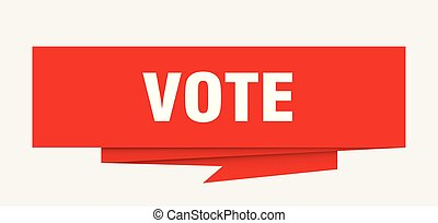 vote sign. vote paper origami speech bubble. vote tag. vote banner