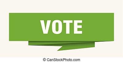 vote sign. vote paper origami speech bubble. vote tag. vote...