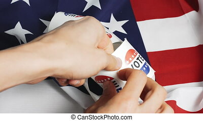 Vote sticker with american flag - Voted stickers with ...