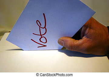 Vote stock shot - My husband pretending to vote :)
