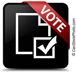 Vote (survey icon) black square button red ribbon in corner