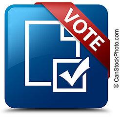 Vote (survey icon) blue square button red ribbon in corner