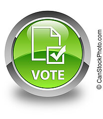 Vote (survey icon) glossy green round button
