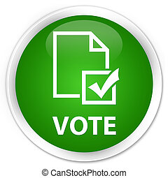 Vote (survey icon) premium green round button