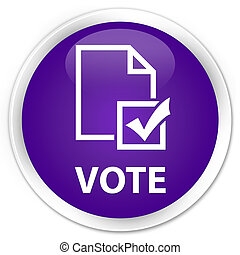 Vote (survey icon) premium purple round button