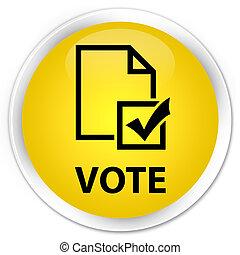 Vote (survey icon) premium yellow round button