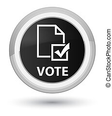 Vote (survey icon) prime black round button