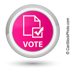 Vote (survey icon) prime pink round button