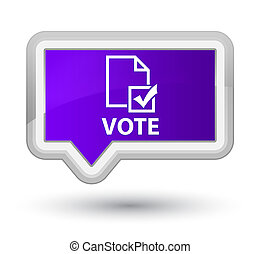 Vote (survey icon) prime purple banner button