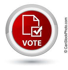Vote (survey icon) prime red round button