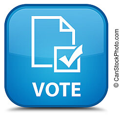 Vote (survey icon) special cyan blue square button