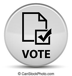 Vote (survey icon) special white round button