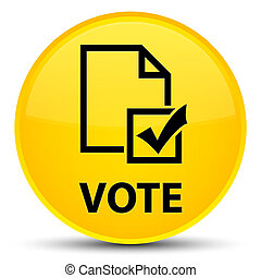 Vote (survey icon) special yellow round button