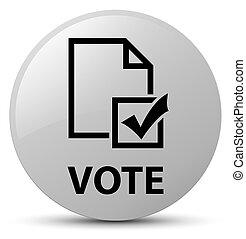 Vote (survey icon) white round button