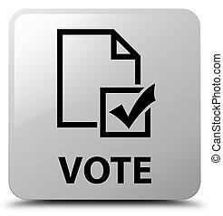 Vote (survey icon) white square button