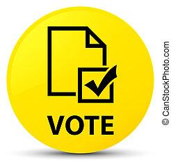 Vote (survey icon) yellow round button