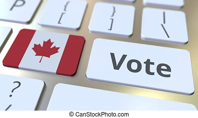 VOTE text and flag of Canada on the buttons on the computer...
