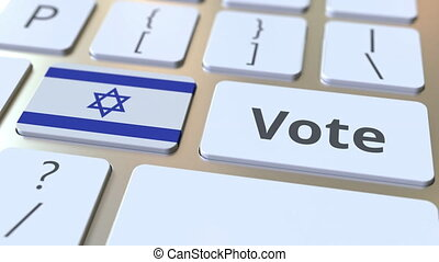 VOTE text and flag of Israel on the buttons on the computer...