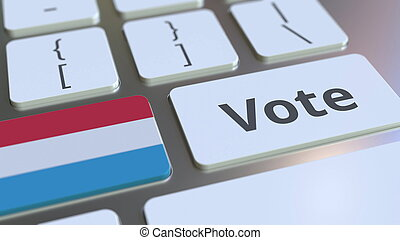 VOTE text and flag of Luxembourg on the buttons on the ...