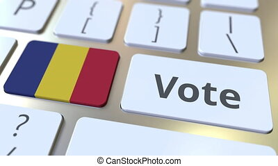 VOTE text and flag of Romania on the buttons on the computer...