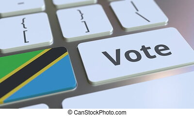 VOTE text and flag of Tanzania on the buttons on the...