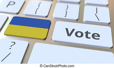 VOTE text and flag of Ukraine on the buttons on the computer...